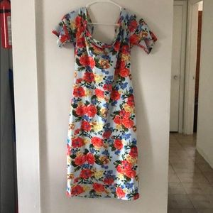 Bright Floral Off Shoulder Bodycon Dress - 14